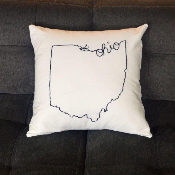 Embroidered Ohio State Decorative Throw Pillow by MrsCaiterbug