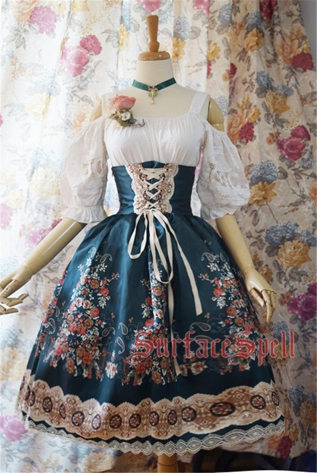 Surface spell | ~AlpenRose~ Gothic Ethnic Lolita High Waist Fishbone Skirt