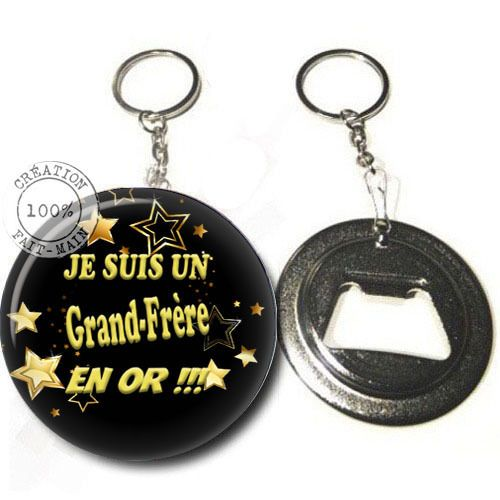 Porte clé décapsuleur / cadeau je suis un grand frère en or : Porte clés par bijoux-martika-creation