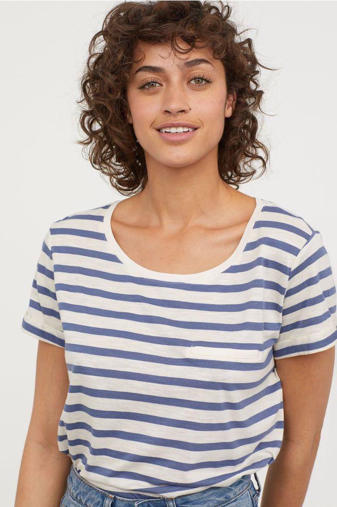 46c1459e83eb5 Slub Jersey T-shirt - Natural white/Blue striped - Ladies | H&M US 1