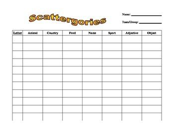 FREE - Handout to play scattergories in the english/esl classroom ...
