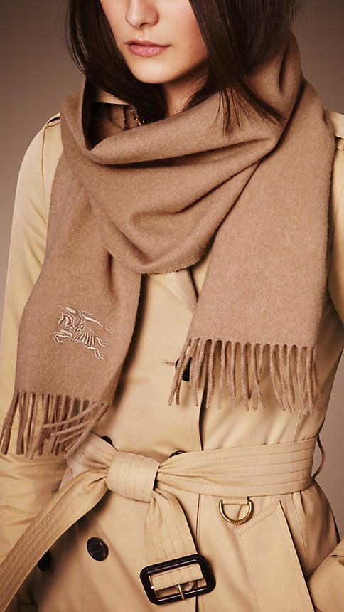 Camel Heritage Cashmere Scarf - Image 3Burberry Camel Heritage Cashmere Scarf - A soft brushed cashmere scarf embroidered with the Equestrian Knight. The scarf is made in Scotland at a mill with a long heritage in producing cashmere. Discover the scarf collection at Burberry.com
