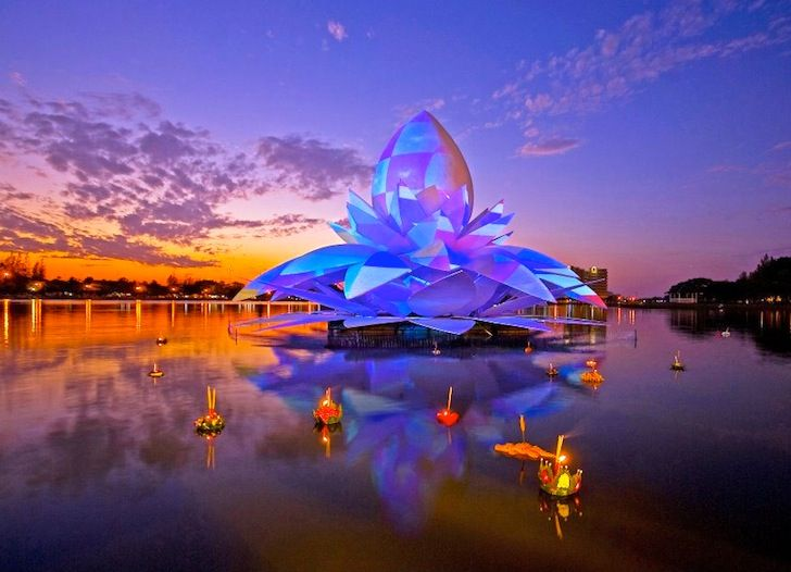 Giant lotus sculpture floating on the floodwaters of Thailand.