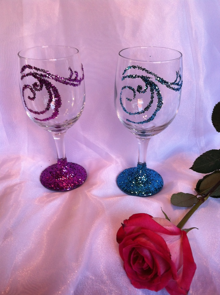 My glitter wine glasses...: Wine Glass