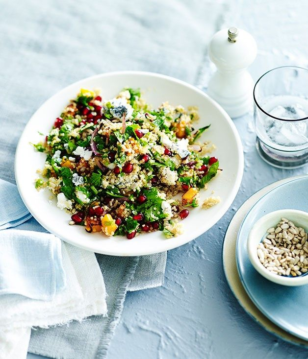 Australian Gourmet Traveller fast recipe for quinoa salad with pomegranate, pumpkin and ashed goat's cheese.