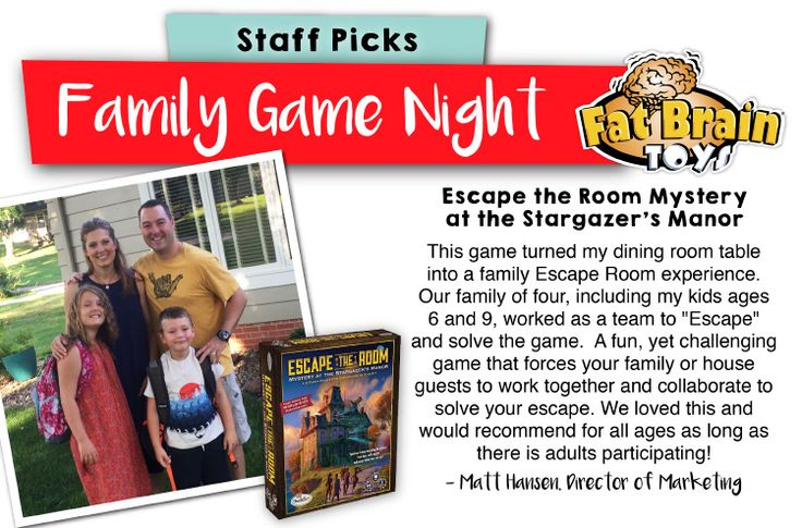 "Family Game Night: Staff Picks -- This is a new game, Escape the Room, but it's certainly an ""experience"" for the whole family as everyone plays a part and tries to solve the mystery! Our Fat Brain Toys' director of marketing's family successfully escaped; can you?"