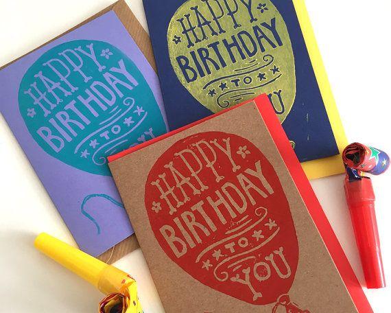 Linocut Birthday Card Hand printed birthday by WoahTherePickle