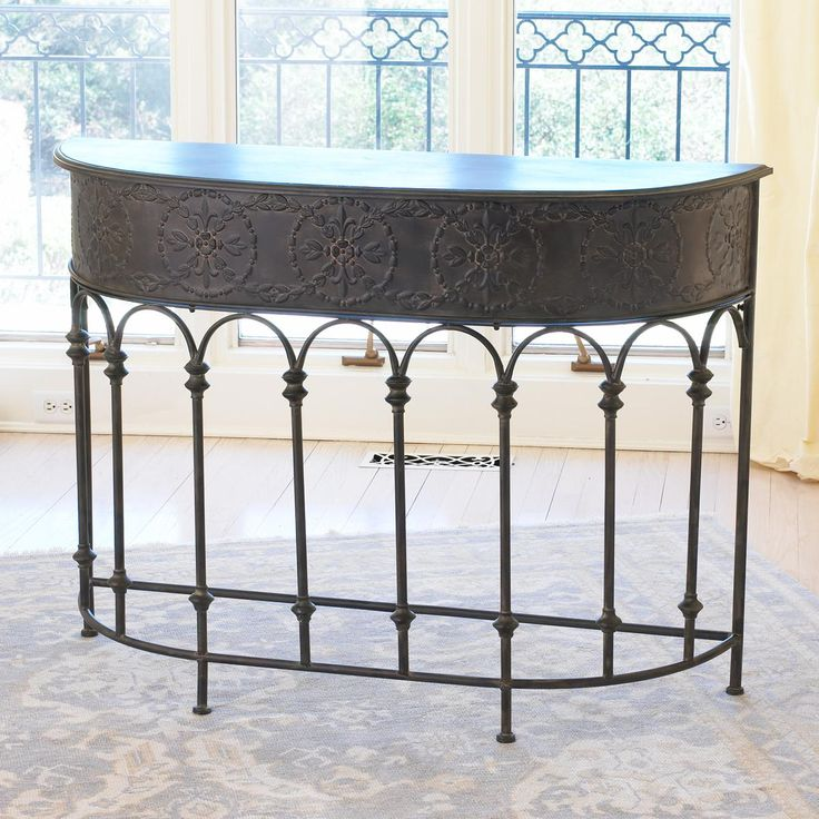 Delightful Bronze Embossed Metal Arched Colonnade Demilune Table