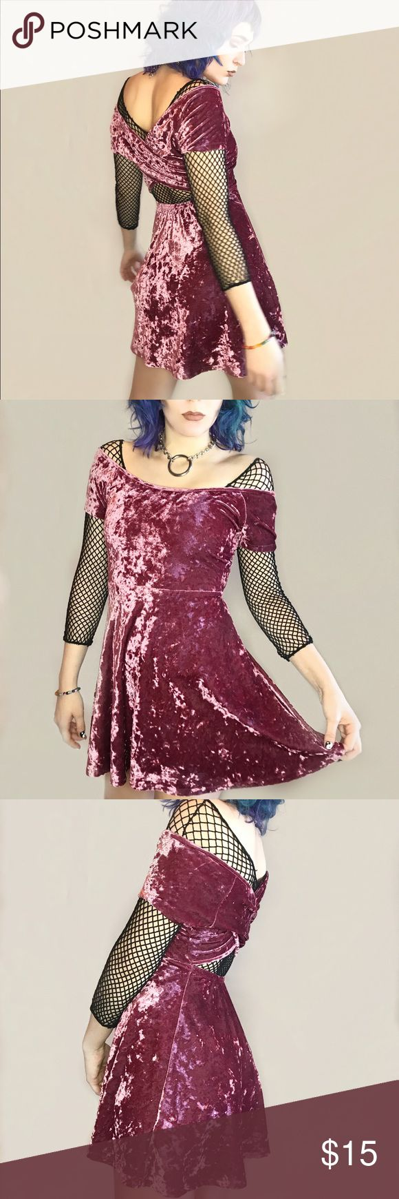 """Mauve pink crushed velvet dress Soft as a cloud of cotton candy. Cross back with opening. Elastic waist for comfort. Circle skirt for dancing all night long. Size small Bust 32"""" Waist: 24-26 Hip: 36"""" Dresses Mini"""
