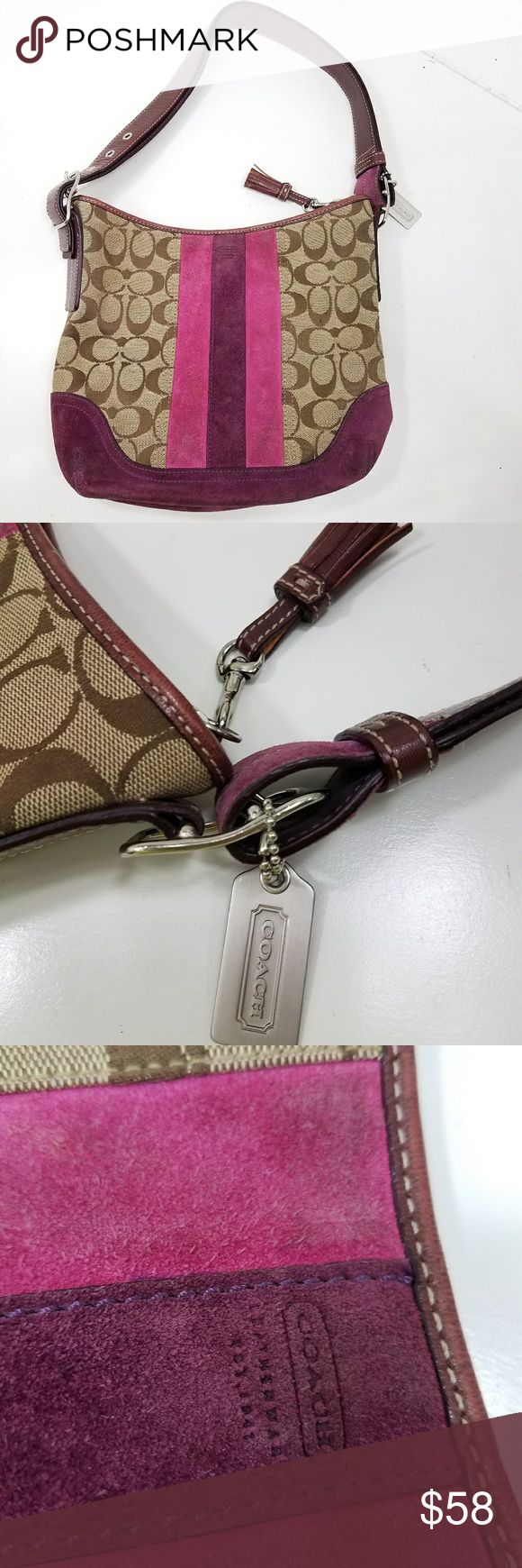 💘 COACH BAG W/ SUEDE 💘 8.5 across bottom 11 inches wide 9 height 10 from top of strap to top of bag  Good condition. Some wear on bottom corners, see photos   *BUNDLE &save with our DISCOUNT* Coach Bags