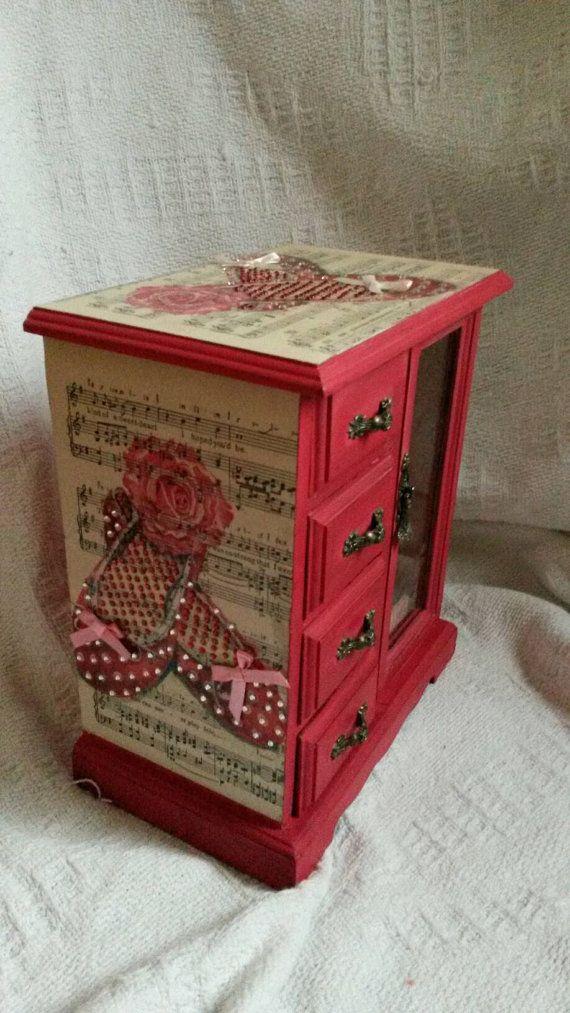 Shabby chic children's kids jewellery box Musical upcycled  hand painted kids girls jewelry box rhinestones red pink