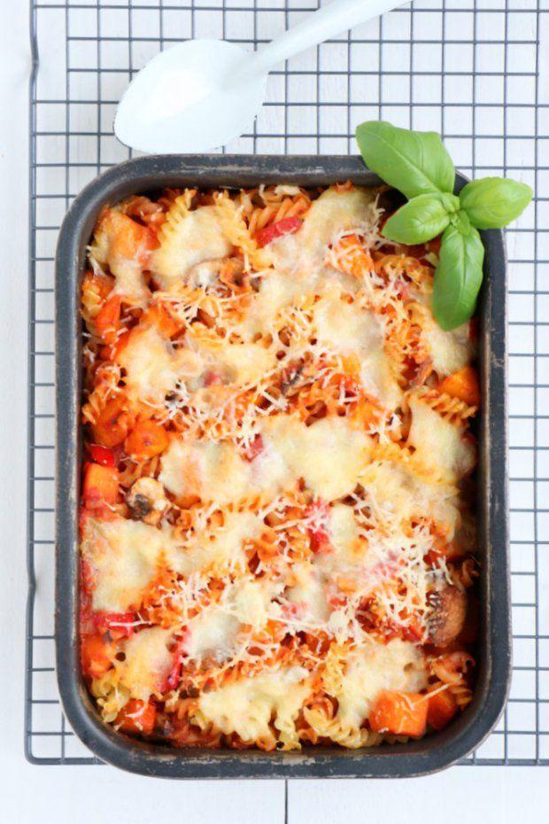 pasta uit de oven met pompoen