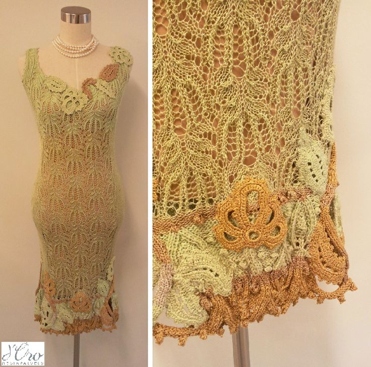 KV Couture, fashion designer Kristina Viirpalu #lightgreen #limegreen #knitted #dress #lace #golden #details