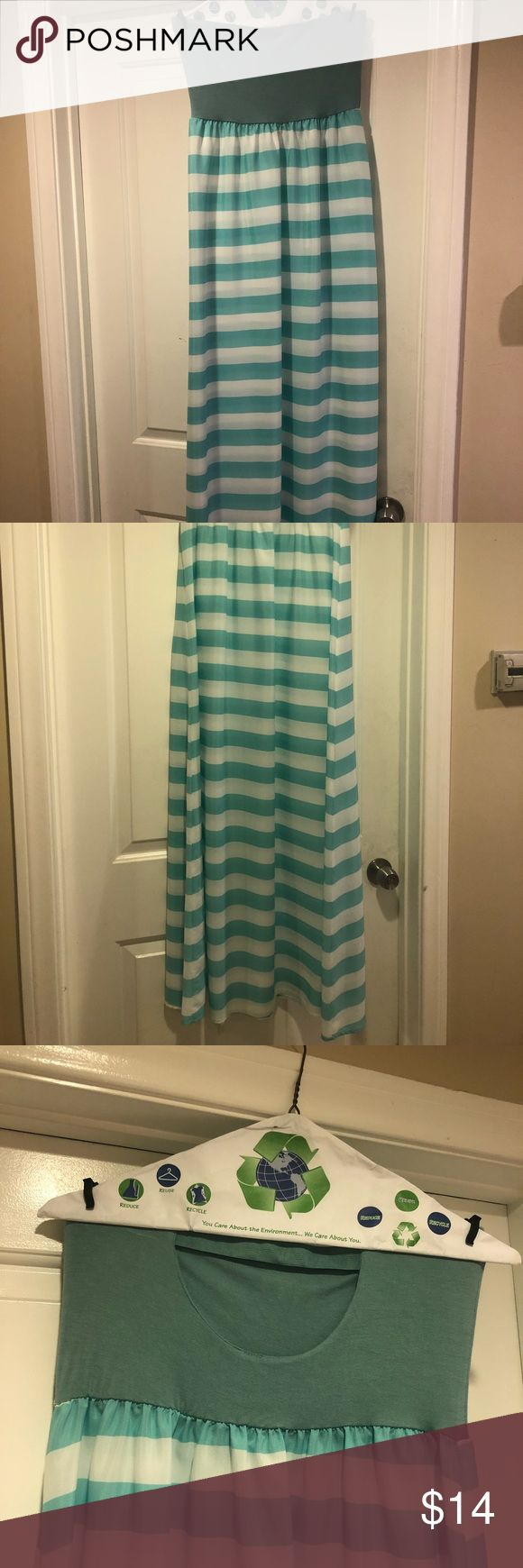 Blue and white striped beach dress BRAND NEW!! Super cute long dress. No slip underneath. Cut out hole in the back with an elastic band around the bust to stretch! 51 inches from the top of the dress to the floor. Windsor Dresses Maxi