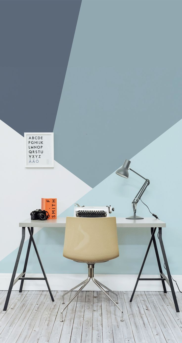 On the lookout for creative desk ideas? Get the ultimate work space with this sleek geometric wallpaper design. Muted colours make this mural the perfect match for your home office.