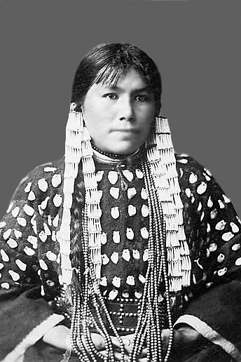 Dickenson College-Rose White Thunder, Daughter of Sioux Chief White Thunder, in Elk Tooth Dress, Carlisle (1883 - 1887) Image from J. N. Choate, photographer, Carlisle, Pa., A Souvenir of the Carlisle Indian School, 1902. Original held by: Archives and Special Collections