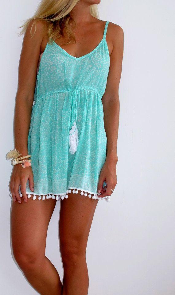 Mint Pom Pom Jumpsuit / Playsuit, Short Beach Dress, Mint Green and White Print…