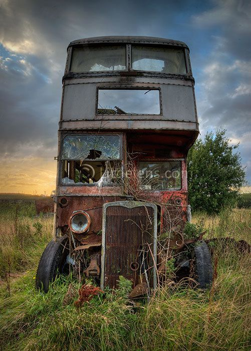 An abandoned bus in a vintage bus graveyard in Lancashire, UK