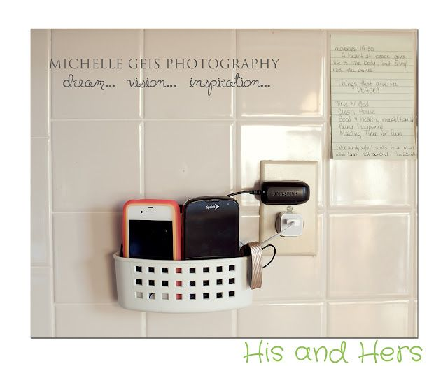 Use a bathroom caddy in the kitchen - suction-cup it to tile to make a charging station and reduce counter clutter