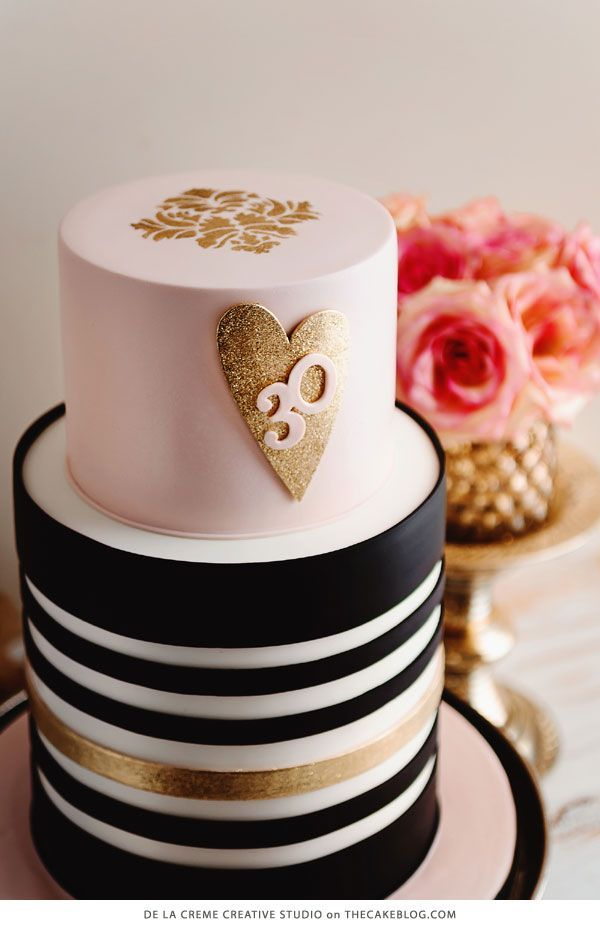 Tall Two-Tiered Gold, Black And White Striped Blush Wedding Cake With Shimmering Heart To Show How You Make My Heart Sparkle