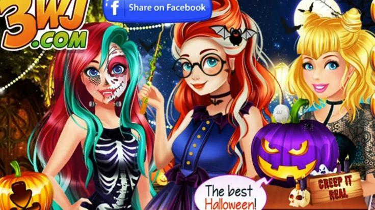 Disney Princesses Ariel Cinderella Merida Halloween Challenge game for g...