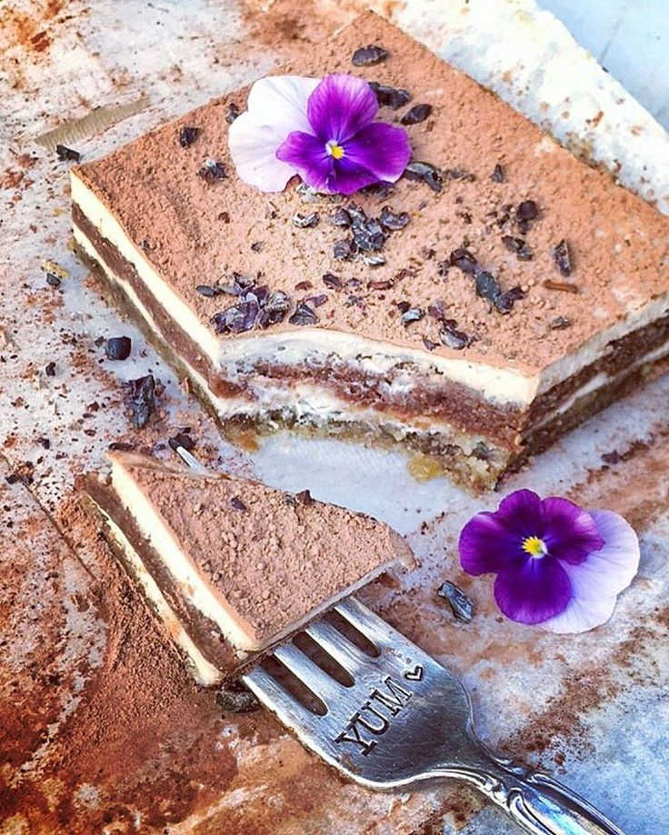 """Raw Vegan Tiramisu. Best dessert ever 💜 Rich, creamy, decadent, and guiltless!  If you are in Orange County submit cake order online and have my cakes and desserts delivered @puredelightsbylena or buy my Dessert eBook and get 57 epic guilt free, sugar and diary free recipes: pies, cupcakes, truffles,  cheesecakes and more. Use code """"30off"""" to get 30% off. Link in bio"""