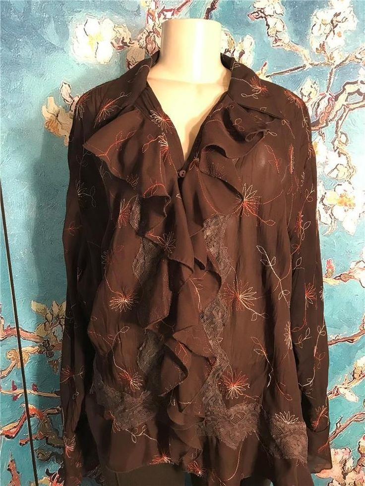Sunny Taylor Plus 2X Brown Floral Sheer Lace Button Ruffle Long Sleeve Tunic Top #SunnyTaylor #Tunic #EveningOccasion