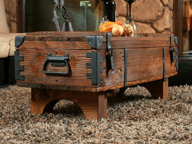 Alte Truhe Kiste Tisch shabby chic Holz Beistelltisch Holztruhe Couchtisch 16 • EUR 149,99 - PicClick DE