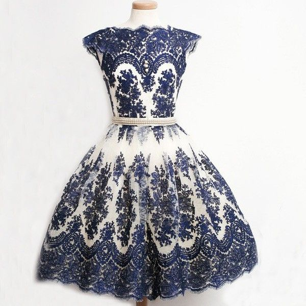 Classic A-Line High Neck Knee Length Tulle Dark Blue Homecoming/Prom Dress With Appliques
