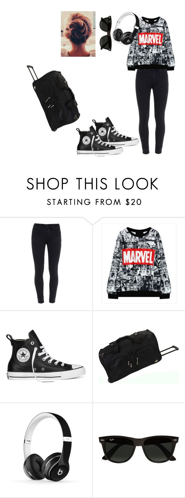 """""""After a long air plain ride!"""" by kayla-b-b ❤ liked on Polyvore featuring Paige Denim, Converse, Rockland Luggage, Beats by Dr. Dre and Ray-Ban"""