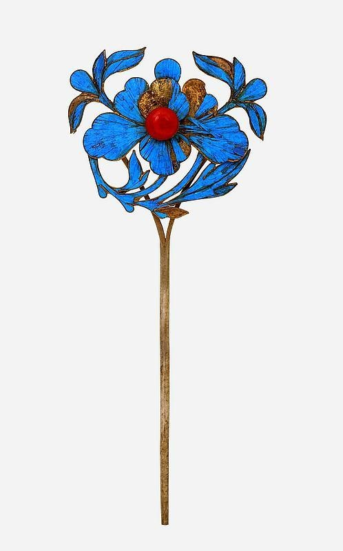Qing Dynasty kingfisher feather hairpin (19th c.)