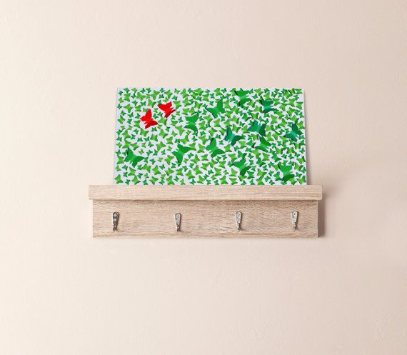 Red and green butterflies 3D wall art on glow by CreativityWings