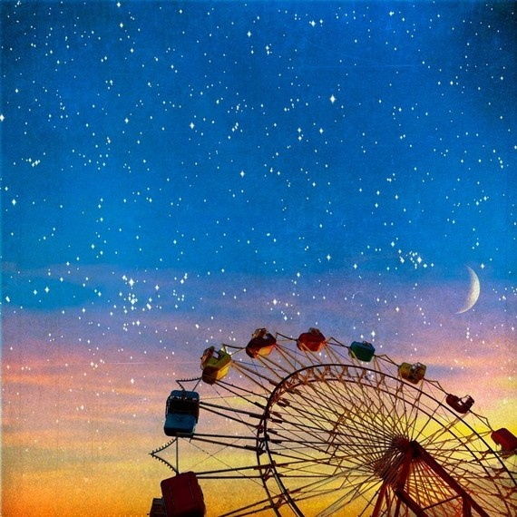 Ferris wheel under a starry sky