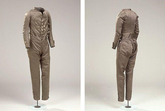 Trøje og bukser til en dreng, ca. 1800 ensemble with long trousers for a teen boy + pattern