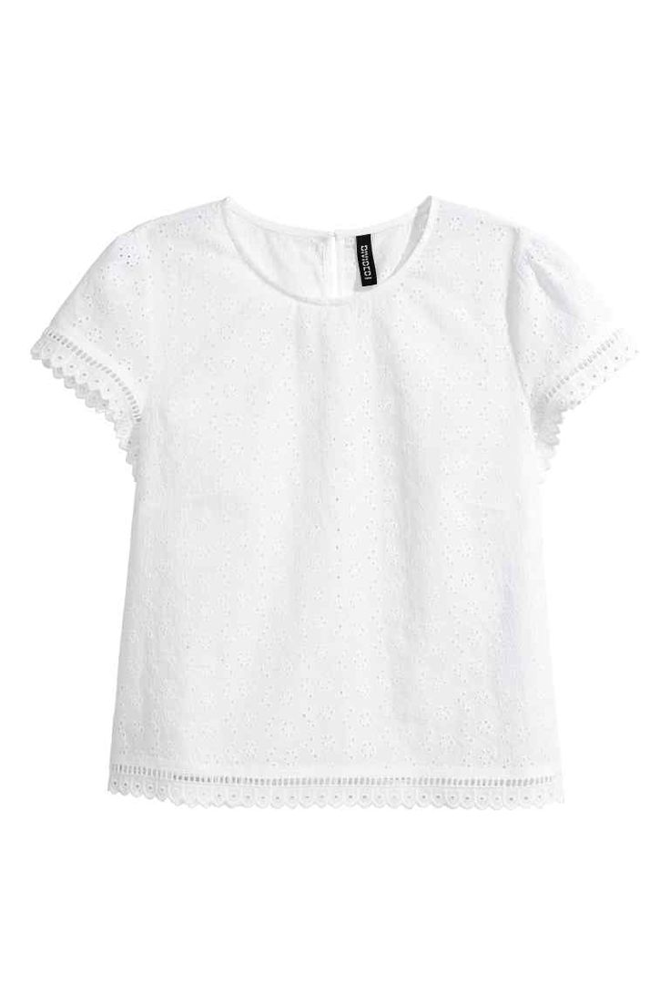 Broderie anglaise top - White - Ladies | H&M GB