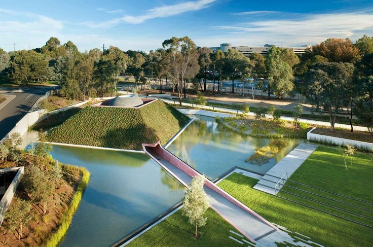 NGA – South Entrance and Indigenous Australian Galleries #architecture #landscapearchitecture #artgallery #australia #archidaily #archinspo #ptwarchitects