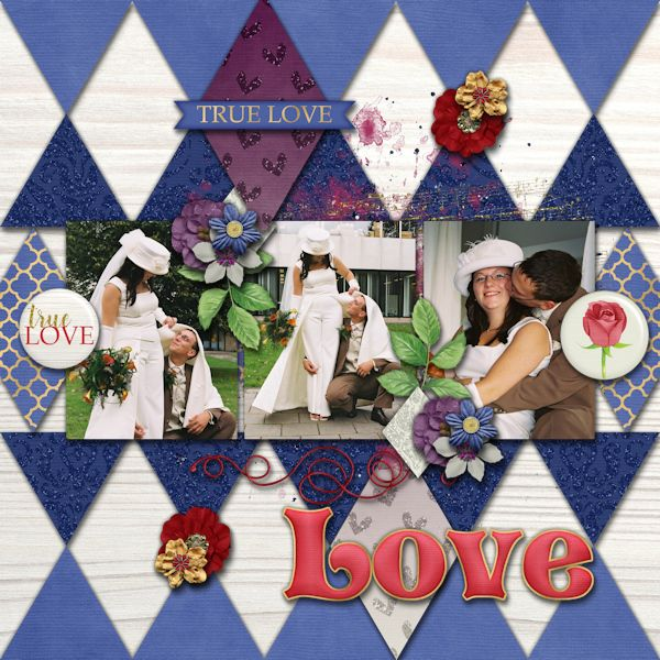 True Love - digital Scrapbook layout.    Credits:  Diamond Sparkle Templates by JoCee Designs  Enchanted Grabbag by Laurie's Scraps & Designs  at Gingerscraps    beautifull diamond shaped templates and lovely Beauty & the Beast themed grabbag   for digiscrapbooking     http://store.gingerscraps.net/Diamond-Sparkle-Temps.html  http://store.gingerscraps.net/EnchantedGrabBag.html