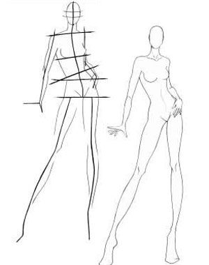 How to draw a model for fashion designs. For London