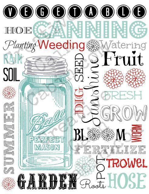 Garden Theme Word Art with Vintage Blue Ball Jar  FREE Printable ~ Creative Cain Cabin