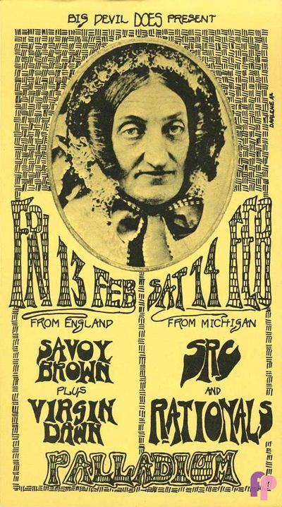"The Palladium was located in Birmingham, Michigan and had a number of good acts come through the doors. The concert information we have indicates that they had shows from late 1969 through late 1971.The original handbill was printed on pale yellow stock and measures approximately 4"" x 7""."