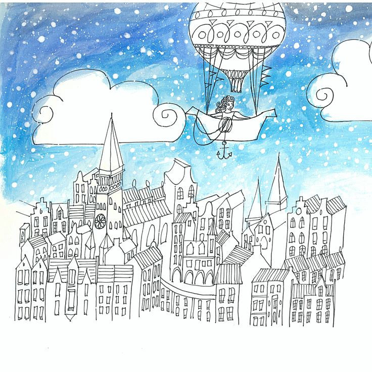 "Book ""A different kind of Neverland,"" by Dieuwke Twyerould. About the illustration: ""To get to Neverland, you had to cross nine kingdoms by a hot air balloon..."""