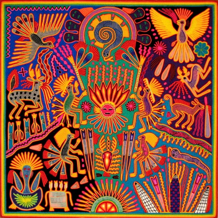 All things Mexico. Huichol Yarn paintings by the Huichole or Wixáritari people; indigenous to the Jalisco, Zacatecas, Durango and Nayarit regions of North Western Mexico.