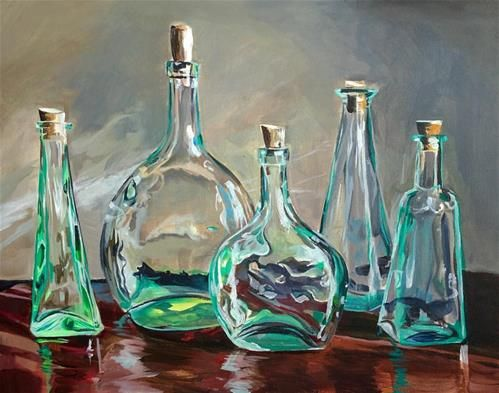 "Daily Paintworks - ""Green Glass Menagerie"" - Original Fine Art for Sale - © Lauren Kuhn"