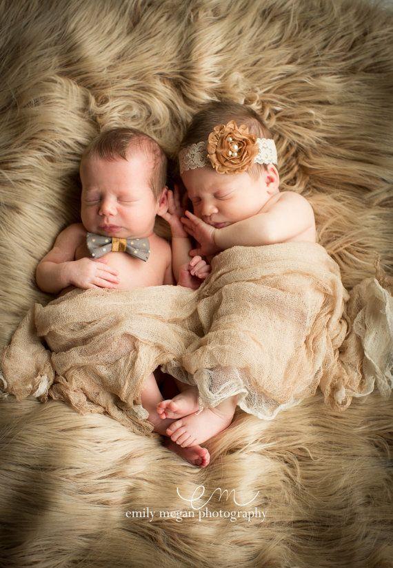 5e63b316a Twin Set Photo Props…Baby Girl Headband…Baby Boy Bow Tie…Photography ...