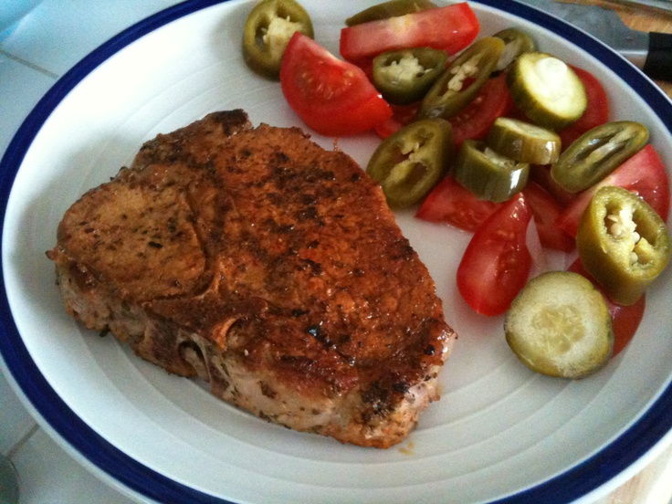 ... Puerco (Latin spiced and marinated pork chops) and homemade pickles