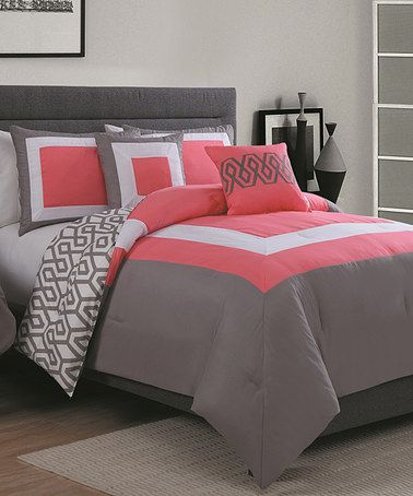 Loving this Coral & Gray Parker Six-Piece Comforter Set on #zulily! #zulilyfinds