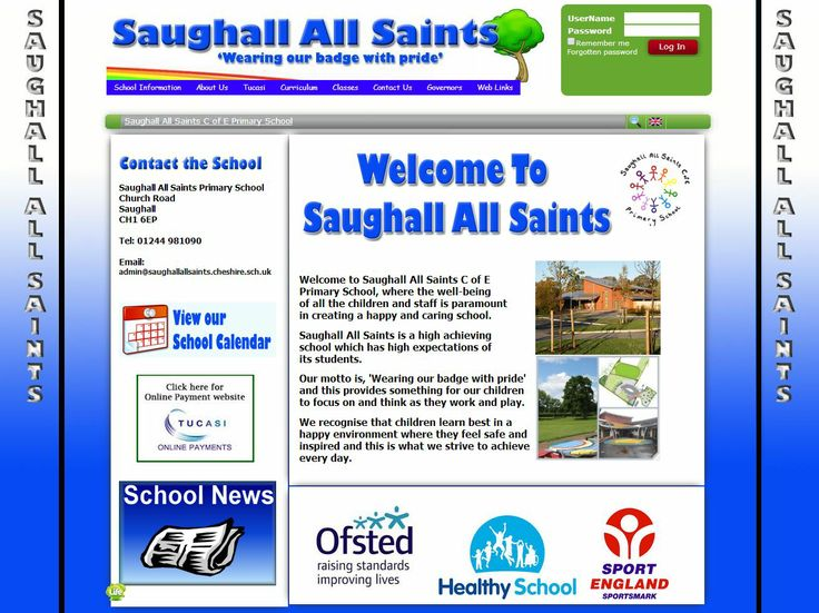Saughall All Saints CE Primary School in Cheshire have worked really hard to create a design that represents their schools colours and carries the theme throughout the different pages. They also provide their parents plenty of information. Brilliant job!