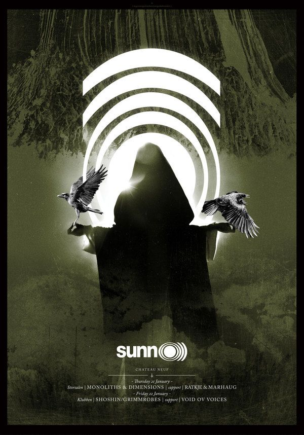 There's something about Sunn O))) that intrigues me, and something that truly inspire #gigposter artist, one example is this one by Fredrik Melby.