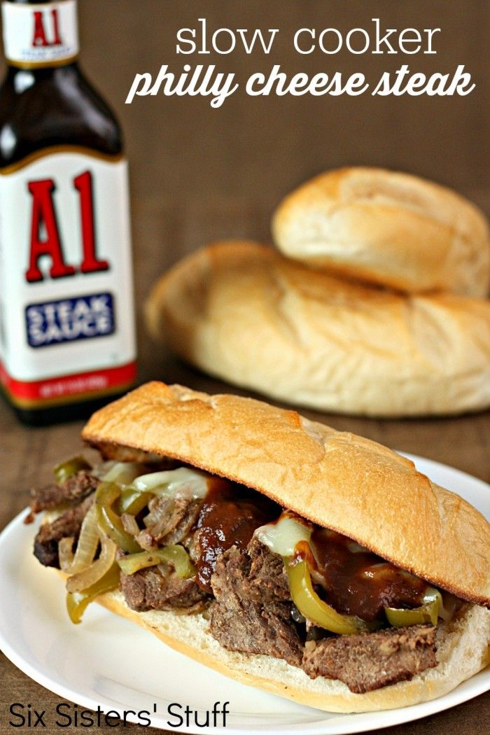 Slow Cooker Philly Cheese Steak Sandwiches from SixSistersStuff.com - these are one of our favorites!