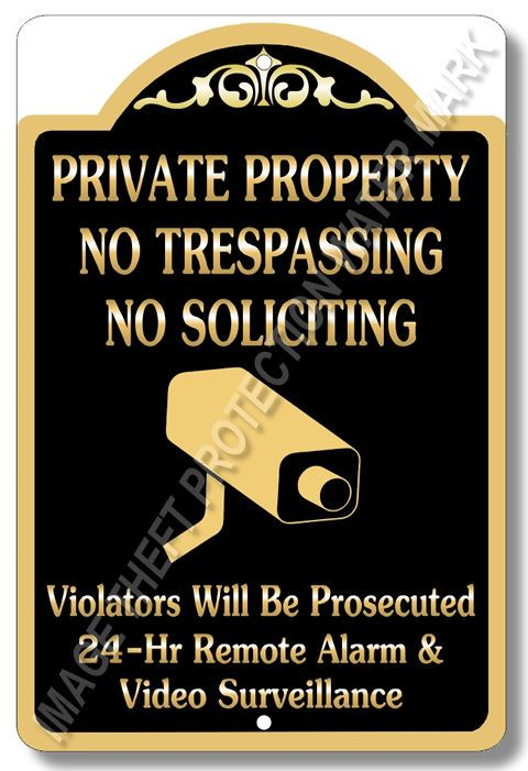 "Private Property No Trespassing No Soliciting Video Surveillance Sign 8""x12"" New #YNGPPNTNS6 #ResidentialCommercial"